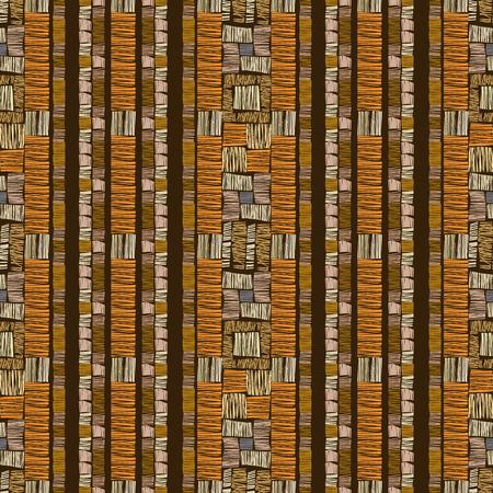 Abstract seamless pattern, vector stripe ornament. African tribal brown background.