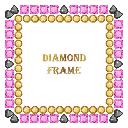 jewerly: Diamond square frame. Vector jewerly background and place for your text.