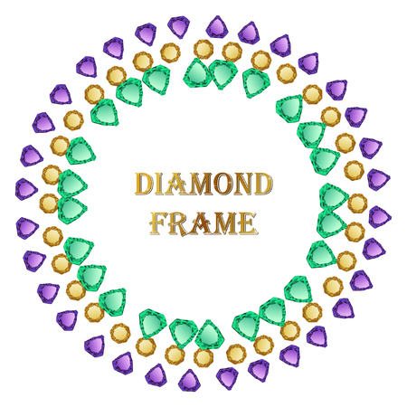 jewerly: Diamond round frame. Vector jewelry background and place for your text. Illustration