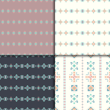 vectoe: Geometric ethnic seamless pattern set. Vector Abstract Aztec backgrounds.