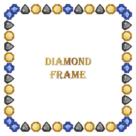 jewerly: Colorful Diamonds square frame. Vector illustration jewelry. Abstract border on white background. Illustration