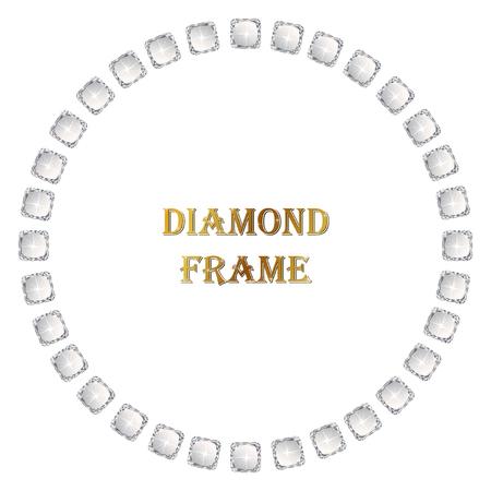 ダイヤモンド サークル フレーム。ベクトル図のジュエリー。白い背景の上の抽象的な境界線。