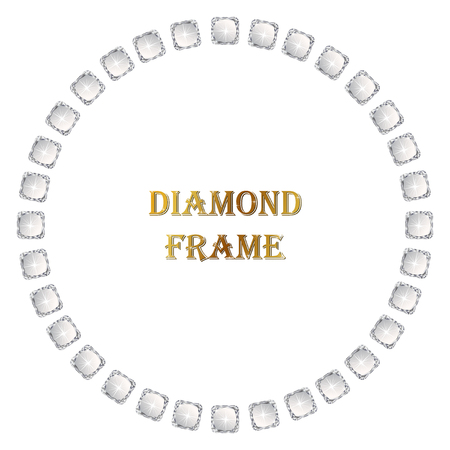 Diamonds circle frame. Vector illustration jewelry. Abstract border on white background.