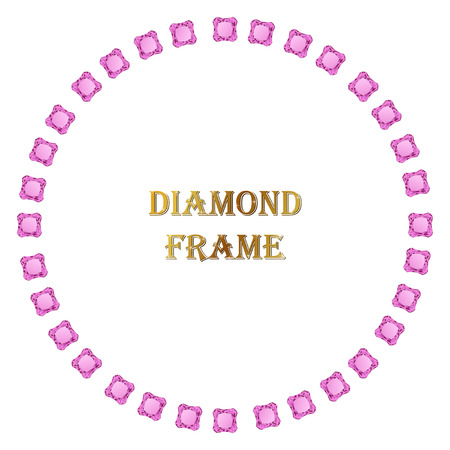 welth: Diamonds round frame. Vector illustration jewelry. Abstract vector border on white background. Illustration