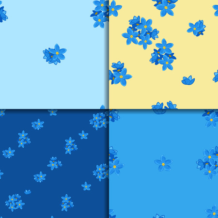 forget me not: Floral seamless pattern set with forget-me-not. Four backgrounds with  forget me not flowers. Digital or wrapping paper Illustration