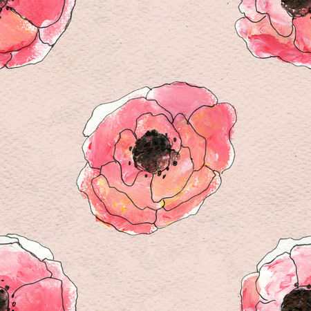 red poppy: Seamless pattern with red poppy flowers. Floral watercolor background. Stock Photo