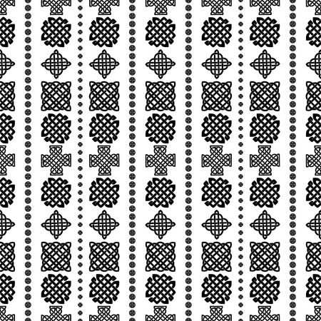 repetition row: Celtic knot seamless black and white pattern. Illustration