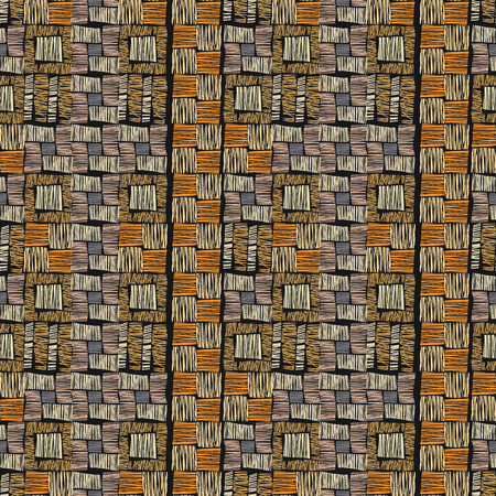 brown pattern: Brown vector checkered grunge seamless pattern. Abstract african tribal background. Stock Photo