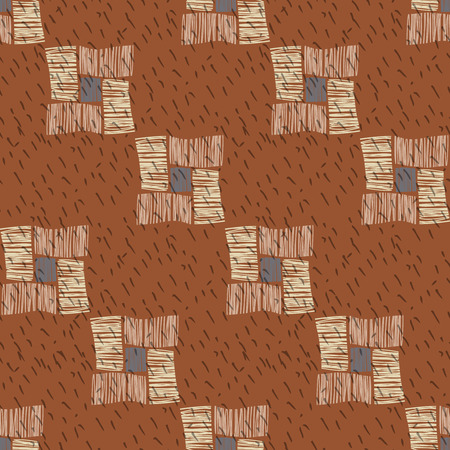 digital design: Brown vector checkered grunge seamless pattern. Abstract african tribal background. Illustration