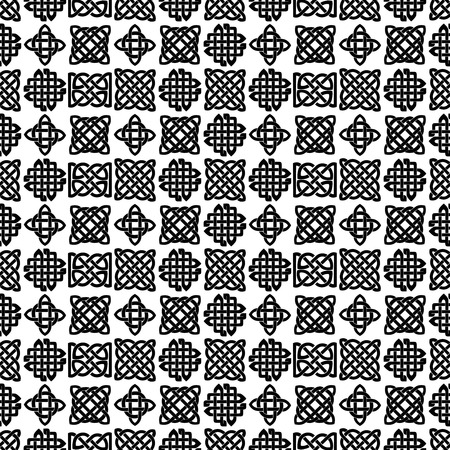 black and white celtic: Celtic knot seamless black and white pattern. ethnic abstract background. Illustration