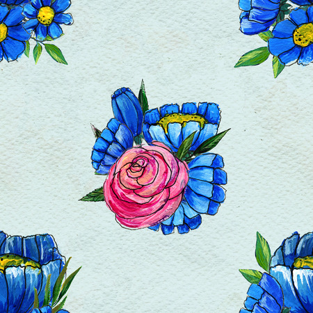 briar: Seamless pattern with flowers. Floral watercolor background. Blue wildflowers and pink roses. Stock Photo
