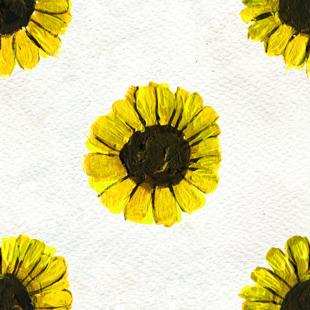 briar: Seamless pattern with sunflowers. Floral watercolor background.