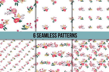 butterfly in hand: Floral Seamless Vintage Pattern Set With Wildflowers and Butterfly. Hand Drawn Illustrations
