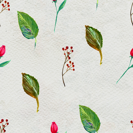 watercolor paper: Seamless pattern with flowers and berries. Floral watercolor background. Stock Photo