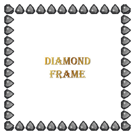 welth: Diamonds square frame. Vector illustration jewelry. Abstract vector border on white background.