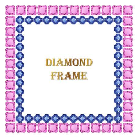 Diamonds square frame. Vector illustration jewelry. Abstract vector border on white background.