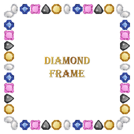 jewerly: Diamonds square frame. Vector illustration jewelry. Abstract vector border on white background.