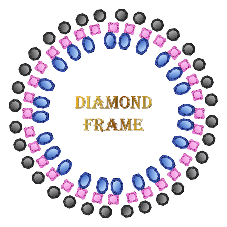 Diamonds round frame. Vector illustration jewelry. Abstract vector border on white background. Illustration
