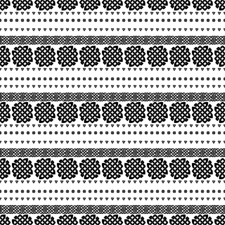 repetition row: Celtic knot seamless black and white pattern. ethnic abstract background. Illustration