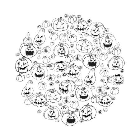 Halloween illustration with set of scary Jack-O-Lantern pumpkins. Hand drawn black and white background, vector doodle art. Illustration