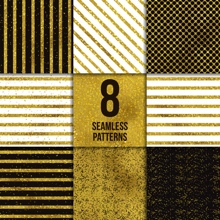 backgrounds texture: Abstract seamless gold backgrounds. Vector illustration set. Texture of foil. Six Striped patterns. Stock Photo