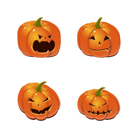 Halloween set with four scary Jack-O-Lantern pumpkins. Vector icon collection. Illustration