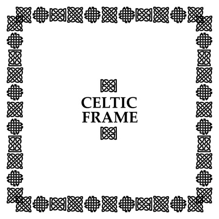 repetition row: Celtic knot black and white frame. Ethnic abstract border.