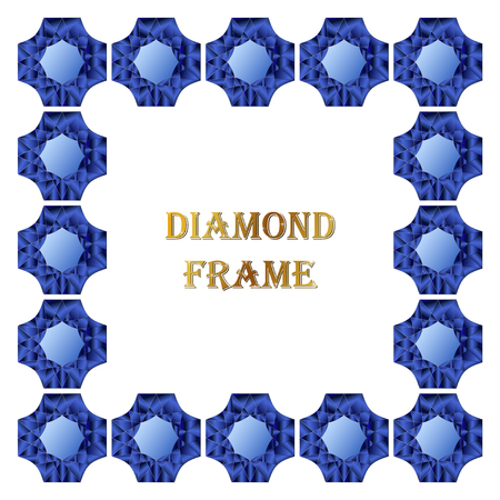 jewerly: Sapphire square frame. Vector illustration jewelry. Abstract vector border on white background.