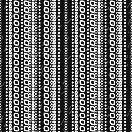 stripes seamless: Abstract hand drawn seamless pattern. Black grunge background with white stripes of simple geometric shapes.