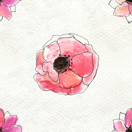 Seamless pattern with pink flowers. Floral watercolor background. Stock Photo