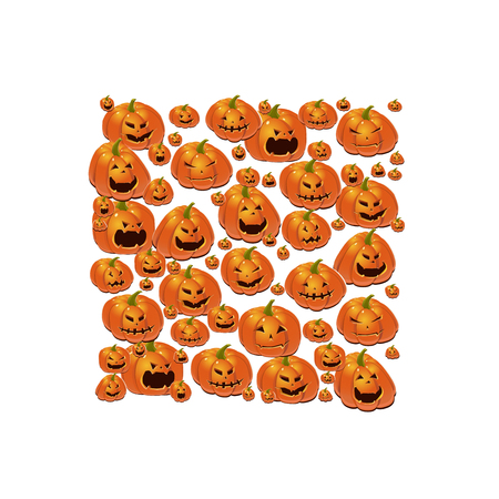 Halloween illustration with set of scary Jack-O-Lantern pumpkins.