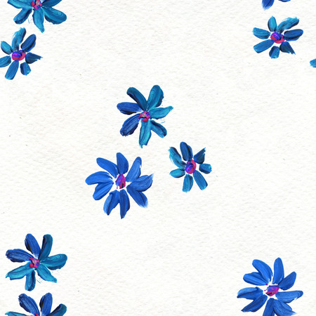 briar: Seamless pattern with blue flowers. Floral watercolor background.