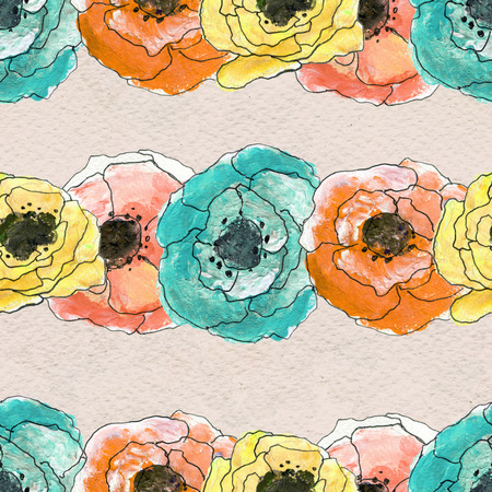 Seamless pattern with colorful rows of flowers. Floral watercolor background.