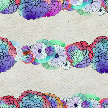 aster: Seamless floral pattern with asters and daisy garlands of flowers. Floral watercolor background. Stock Photo