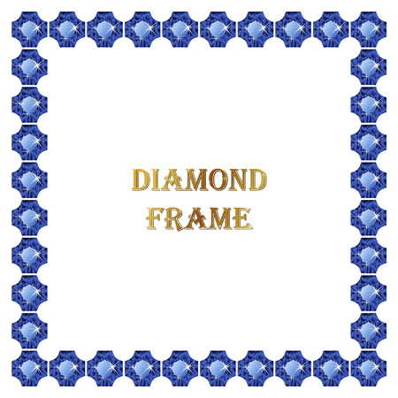 Sapphire square frame. Vector illustration jewelry. Abstract vector border on white background.