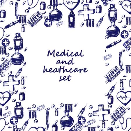 Sanità e della medicina. Vector Doodle cornice quadrata. disegnato a mano medical background. A forma di cuore, pillole, croce, termometro, stetoscopio, siringa pipetta intonaco ecc