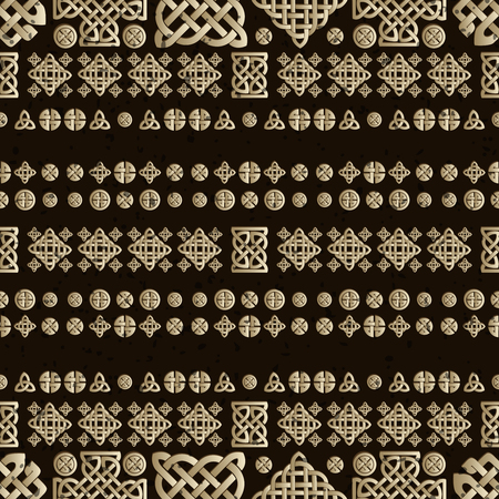 repetition row: Celtic knot seamless brown pattern. Abstract background. Illustration