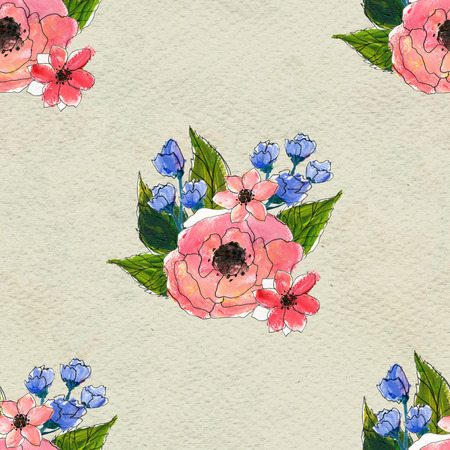 briar: Seamless pattern with colorful flowers. Floral watercolor background.