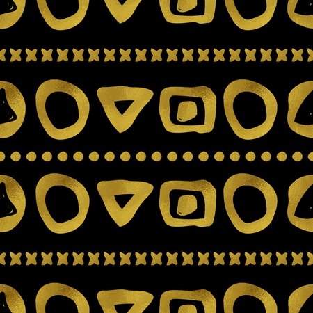 Abstract seamless pattern. Black and gold grunge background with simple geometric shapes. Digital paper. Illustration