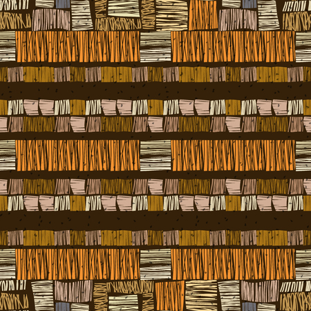 brown pattern: Brown vector striped grunge seamless pattern. Abstract african tribal background. Illustration