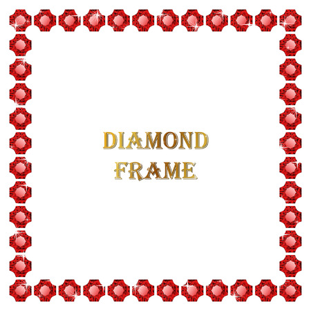 Ruby square frame. Vector illustration jewelry. Abstract vector border on white background. Illustration