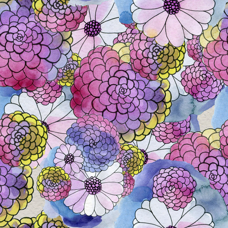 aster: Seamless floral pattern with asters and daisy flowers. Floral watercolor background.