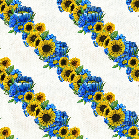 Seamless pattern with blue wildflowers and sunflowers. Floral watercolor background. Stock Photo
