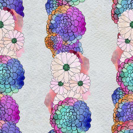 Seamless floral pattern with asters and daisy garlands of flowers. Floral watercolor background. Stock Photo