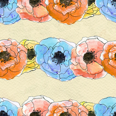 Seamless pattern with colorful garlands of flowers. Floral watercolor background. Stock Photo