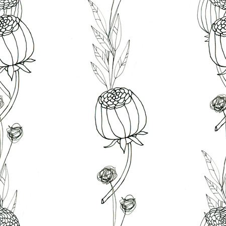 Seamless floral with abstract black and white flowers. Floral outline monochrome background. Stock Photo