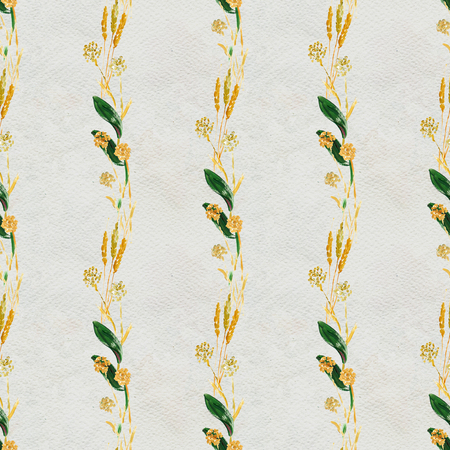 Seamless pattern with flowers and leaves. Floral watercolor background. Stock Photo
