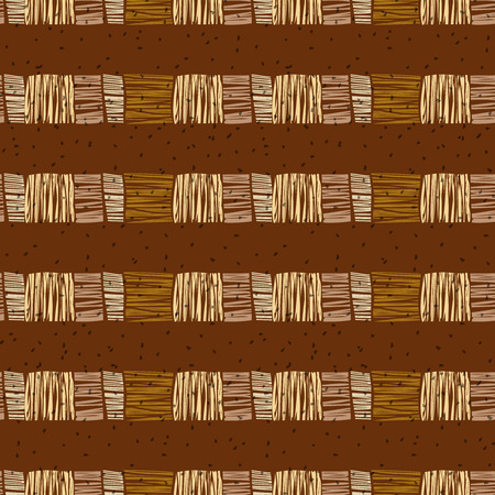 Brown vector striped grunge seamless pattern. Abstract african tribal background. Illustration