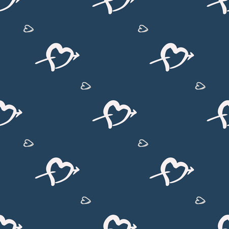 Hand drawn heart vector background. Seamless valentines day pattern.