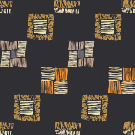 Brown vector checkered grunge seamless pattern. Abstract african tribal background. Illustration